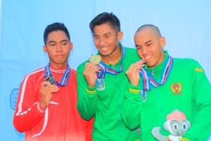 Atlet Jatim Peraih Medali Emas cabang olahraga Selam Nomor Kolam.
